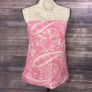 J. Crew Pink and White Paisley Strapless Halter 6